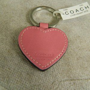 COACH #7262 Heart Key Fob Pink Leather NWT's!
